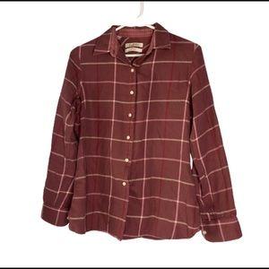 Barbour Pink Plaid Flannel Button Down Shirt